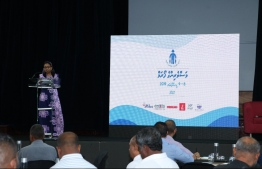 Minister of Fisheries, Marine Resources and Agriculture Zaha Waheed during the opening ceremony of the two-day 'Fishermen's Forum' held in reclaimed suburb Hulhumale'. PHOTO: MINISTRY OF FISHERIES, MARINE RESOURCES, AGRICULTURE