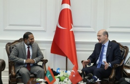 Minister of Home Affairs Imran Abdulla meeting with Turkish Minister of the Interior Süleyman Soylu at Turkey's Ministry of Foreign Affairs as part of Minister Imran's visit to the Eurasian country. PHOTO: HOME MNISTRY