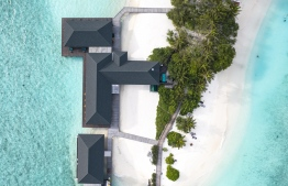 An aerial view of the overwater bar and restaurant 'Avi' and 'Hiya' (TOP STRUCTURES), alongside the overwater 'Firuma' Spa by Spa Ceylon. PHOTO: HAWWA AMAANY ABDULLA / THE EDITION
