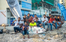 Hussain Areef (Iboo) (C- YELLOW) places first on the podium, defending his title and securing his 7th National Surfing Championship. PHOTO: MALDIVES SURFING ASSOCIATION