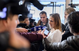 Norway's Linda Hofstad Helleland, a member of the World Anti-Doping Agency (WADA) foundation board, answers journalists following a meeting of WADA's executive committee on December 9, 2019 in Lausanne. - The World Anti-Doping Agency banned Russia today from global sporting events including the 2020 Tokyo Olympics and the 2022 Beijing Winter Olympics after accusing Moscow of falsifying data from an anti-doping laboratory. (Photo by FABRICE COFFRINI / AFP)