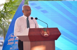 President Ibrahim Mohamed Solih speaks at the opening ceremony of the Ensis fish processing and ice plant in Hulhumale'. PHOTO: PRESIDENCY MALDIVES