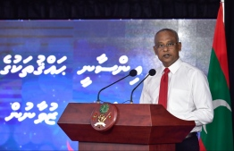 President Ibrahim Mohamed Solih speaking at the ceremony held to commemorate International Human Rights Day, PHOTO: NISHAN ALI/ MIHAARU