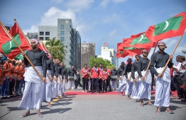 The welcoming reception at the Republic Square for the athletes arriving to the country following a successful bid at the 13th South Asian Games. PHOTO: NISHAN ALI / MIHAARU