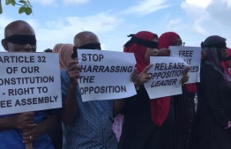 Opposition protests in front of the UN office in Male' City, calling for the release of former President Abdulla Yameen Abdul Gayoom. PHOTO/PNC