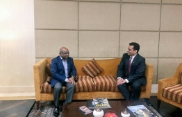 Foreign Minister Abdulla Shahid is received by Joint Secretary Amit Narang of the External Affairs Ministry. PHOTO/FOREIGN MINISTRY