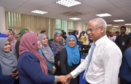 President Ibrahim Mohamed Solih meeting staff from the Ministry of Education. PHOTO: PRESIDENT'S OFFICE