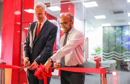 CEO and Managing Director of BML, Tim Sawyer and Minister of Finance Ibrahim Ameer inaugurating the Hulhumale' business centre. PHOTO: BANK OF MALDIVES (BML)