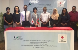 The ceremony to sign the grant contract between the Japanese government and Maldives Autism Association for the provision of vision and hearing screener. PHOTO: EMBASSY OF JAPAN
