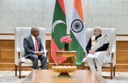 Minister of Foreign Affairs Abdulla Shahid paying a courtesy call on the Prime Minister of India Narendra Modi. PHOTO: FOREIGN MINISTRY