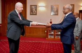 Ambassador of Denmark Mr Freddy Svane presents credentials to President Solih. PHOTO: PRESIDENT'S OFFICE