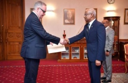 Ambassador of Ireland rendan Ward presents credentials to President Solih. PHOTO: PRESIDENT'S OFFICE