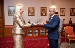 Ambassador of Bulgaria Eleonora Dimitrova presents credentials to President Solih. PHOTO: PRESIDENT'S OFFICE