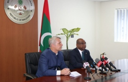 German Ambassador to Sri Lanka and Maldives, Joern Rohde (L) and Foreign Minister Abdulla Shahid announce the opening of a German Schengen Visa application centre in Maldives. PHOTO/FOREIGN MINISTRY