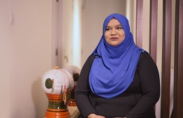 Ashifa Mustafa, a young entrepreneur specializing in 'Kasabu' embroidery. PHOTO: MIHAARU