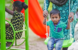 Children playing at the children's park in Kihaadhoo, Baa Atoll. PHOTO: BANK OF MALDIVES