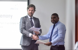 Economic Ministry contracts a joint venture between MTBS of Netherlands and Niras of Denmark to provide consultancy for the development of transshipment port facilities in Maldives, on December 19, 2019. PHOTO: HUSSAIN WAHEED / MIHAARU