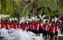 Nalafehi Meedhoo often includes young children in their cleanup programmes as they believe this way, the next generation would be inspired to love and maintain the environment. PHOTO: FACEBOOK / NALAFEHI MEEDHOO