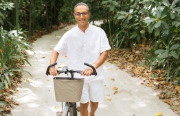 Sonu takes his bicycle out for a spin through Soneva's lush green pathways, the main form of transport on the eco-conscious island. PHOTO: SONEVA