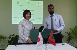 Japanese Ambassador to Maldives Yanai Keiko and Chief Executive Officer of the Home for People with Special Needs, Imran Ibrahim. PHOTO: GENDER MINISTRY