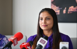 Minister of Education Dr Aishath Ali. PHOTO: HUSSAIN WAHEED/ MIHAARU