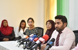 Ministry of Health Abdulla Ameen during a press conference to address the recent resurfacing of the highly infectious Measles disease. PHOTO: HUSSAIN WAHEED / MIHAARU