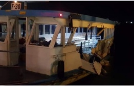Damages sustained by the Maldives Airports Company Lrtd (MACL) ferry in the accident. PHOTO: FACEBOOK