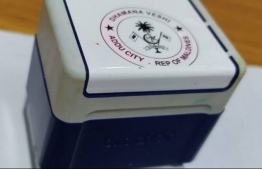 The official stamp of Addu City Dhamana Veshi. The stamp was found and handed over to Police on January 14, after being stolen on  December 24, 2019. PHOTO: AAFATHIS