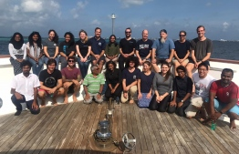 Members of the survey team conducting the marine expedition across Maldives. PHOTO: MINISTRY OF FISHERIES, MARINE RESOURCES AND AGRICULTURE.