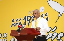 President Ibrahim Mohamed Solih speaking at the conference in Kulhudhuffushi, Haa Dhaal Atoll. PHOTO: MDP