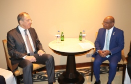 Foreign Minister Abdulla Shahid meets his Russian counterpart, Sergey Lavrov, on the sidelines of the Raisina Dialogue 2020. PHOTO/FOREIGN MINISTRY