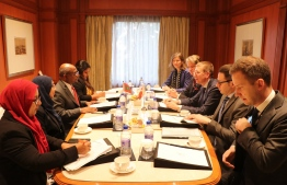 Foreign Minister Abdulla Shahid meets his Latvian counterpart, Edgars Rinkēvičs, on the sidelines of the Raisina Dialogue 2020. PHOTO/FOREIGN MINISTRY
