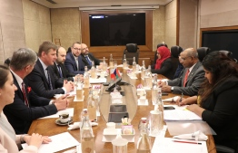 Foreign Minister Abdulla Shahid meets his Czech counterpart, Tomáš Petříček, on the sidelines of the Raisina Dialogue 2020. PHOTO/FOREIGN MINISTRY