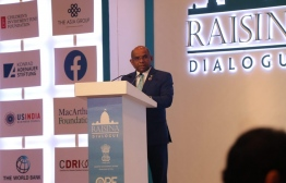 Minister of Foreign Affairs Abdulla Shahid during his keynote address at the Raisina Dialogue 2020. PHOTO: MINISTRY OF FOREIGN AFFAIRS