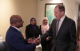 Foreign Minister Abdulla Shahid with Foreign Minister of Russia, H.E. Sergey Lavrov