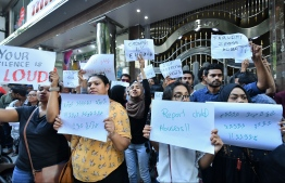 Outraged citizens gathered in front of the gender ministry on January 16, 2020, to protest against rape and sexual violence, after the case of a two-year-old girl sexually abused by her grandfather and great-grandfather came to light. PHOTO: NISHAN ALI / MIHAARU