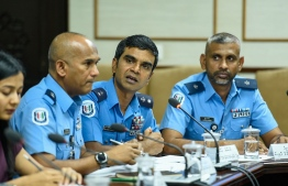 Chief Superintendent of Police Mohamed Daud (C) speaking at Parliament's Human Rights and Gender Committee. PHOTO: HUSSAIN WAHEED / MIHAARU