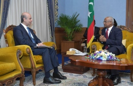 Egyptian Ambassador Hussain Al Saharty paid a courtesy call on President Solih on January 20, 2020. PHOTO/PRESIDENT'S OFFICE