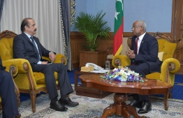 Pakistani Ambassador Vice Admiral Waseem Akram (Rtd) paid a farewell call on President Solih on January 20, 2020. PHOTO/PRESIDENT'S OFFICE