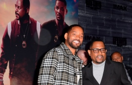 """(FILES) In this file photo taken on January 14, 2020 actors Will Smith (L) and Martin Lawrence (R) arrive for the World Premiere of """"Bad Boys For Life"""" at the TCL Chinese theatre in Hollywood. - It took Sony 17 years, but the latest """"Bad Boys"""" sequel appears to be paying off, taking in an estimated $59.2 million for the start of a US holiday weekend, industry watcher Exhibitor Relations reported on January 19, 2020. """"Bad Boys for Life"""" stars Will Smith and Martin Lawrence as wise-cracking detectives who reunite after years apart (""""Bad Boys II"""" dates from 2003, eight years after the original """"Bad Boys"""") to take on a murderous Miami drug cartel. (Photo by Frederic J. BROWN / AFP)"""