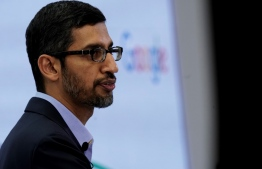 Google CEO Sundar Pichai speaks during a conference in Brussels on January 20, 2020. (Photo by Kenzo TRIBOUILLARD / AFP)