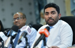 Minister of Health Abdulla Ameen speaking at a press conference. PHOTO: MIHAARU