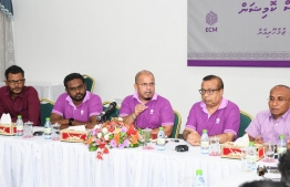 Elections Commission members during a press conference. PHOTO: EC