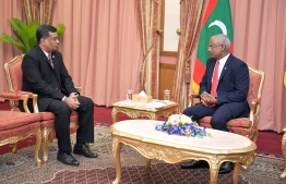 The Ambassador of Bangladesh, Rear Admiral Akhtar Habib (L) pays farewell call on President Ibrahim Mohamed Solih on January 26, 2020. PHOTO/PRESIDENT'S OFFICE