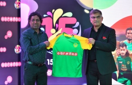 Ooredoo Maldives appoints Maziya Sports and Recreation Club as the telecom giant's brand ambassador, at the Maruhaba 2020 event hold on January 27, 2020. PHOTO: HUSSAIN WAHEED / MIHAARU
