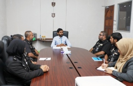 A meeting of Maldives Correctional Service chaired by the Commissioner of Prisons. PHOTO: MCS