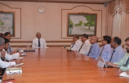 President Ibrahim Mohamed Solih speaking to the stakeholders of the tourism industry about the precautions against the novel coronavirus.  PHOTO: PRESIDENT'S OFFICE