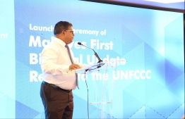 Minister of Environment Dr Hussain Rasheed Hassan during the launching ceremony. PHOTO: MINISTRY OF ENVIRONMENT