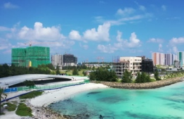 Construction of the connective bridges between Phase One and Phase Two of reclaimed suburb Hulhumale'. HDC states that bridge construction will conclude in April by the latest. PHOTO: MIHAARU FILES