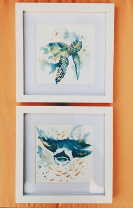 Minimal watercolour paintings of ocean fauna from the artist's 'simplicity collection' also exhibited at Angsana Velavaru. PHOTO: SAM